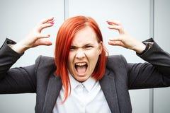 Biznesowy pojęcie sukces Nikczemny kobieta szef w kostiumu emotio, zdjęcia stock