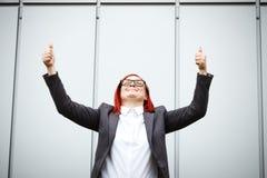 Biznesowy pojęcie sukces Poważny Pomyślny kobieta szef kuchni w a, Zdjęcie Stock