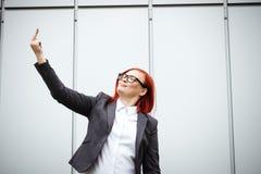 Biznesowy pojęcie sukces Poważny Pomyślny kobieta szef kuchni w a, zdjęcia royalty free