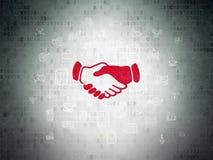 Biznesowy pojęcie: Uścisk dłoni na Cyfrowych dane papieru tle Obrazy Royalty Free