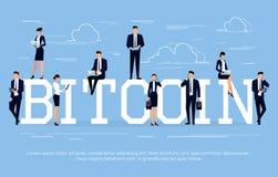 Biznesowy pojęcie w płaskim stylu z biznesmenami używa smartph Obrazy Stock
