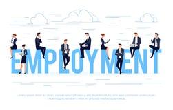 Biznesowy pojęcie w płaskim stylu z biznesmenami używa smartph Obraz Royalty Free