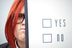 Biznesowy pojęcie wybór i głosować Kobieta w gla i kostiumu Fotografia Royalty Free