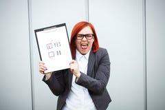 Biznesowy pojęcie wybór i głosować Kobieta w gla i kostiumu Fotografia Stock