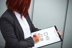 Biznesowy pojęcie wybór i głosować Kobieta w gla i kostiumu Obrazy Royalty Free