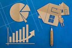 Biznesowy pojęcie z biznesowego wykresu papieru cięcia stylem i domowym ar Obraz Royalty Free