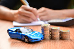 Biznesowy pojęcia ubezpieczenie samochodu, bubel lub zakupu samochód, samochodowy financi Obraz Royalty Free