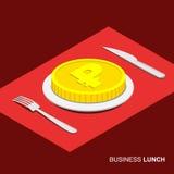 Biznesowy pojęcie - 3d moneta z rubla znakiem na talerzu Obrazy Royalty Free