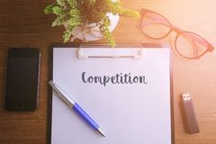 Biznesowy pojęcie - Odgórnego widoku notatnika writing rywalizacja Obraz Stock