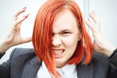 Biznesowy pojęcie sukces Nikczemny kobieta szef w kostiumu emotio, Zdjęcie Stock