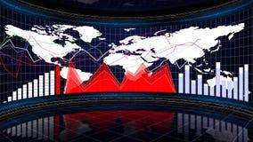 Biznesowy pokój, mapy i wykresy, Komputerowej grafiki tło Obrazy Royalty Free