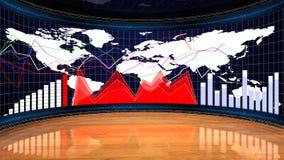 Biznesowy pokój, mapy i wykresy, Komputerowej grafiki tło Obraz Stock