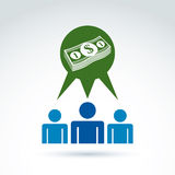 Biznesowy pomysł dyskusi pojęcie, gadka na ekonomiach i investme, Obraz Royalty Free