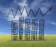 Biznesowy prętowy wykres tworzy w ręka rysującym projekcie i r arro Fotografia Stock