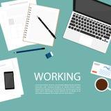 Biznesowy pracującej przestrzeni odgórnego widoku notatnika wektor Zdjęcia Stock