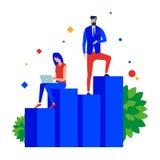 Biznesowy przyrost chart Osiągnięcia w drużynowej pracie royalty ilustracja