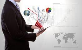 biznesowy przyrządu mężczyzna ekranu dotyka używać Fotografia Stock