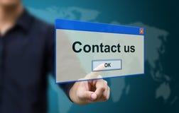 Biznesowy ręka dotyka kontakt my zdjęcie stock