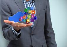 Biznesowy ręki rozszerzanie się z obłoczne i podaniowe ikony fractal tła podobieństwo niebieskie światło Zdjęcie Stock