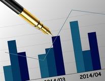 Biznesowy raport na biurku z piórem Zdjęcie Stock