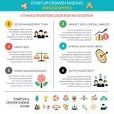 Biznesowy rozpoczęcie crowdfunding infographic układ ilustracji