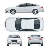 Biznesowy sedanu pojazd Samochodowego szablonu widoku wektorowy ilustracyjny przód, tyły, strona, wierzchołek Zmienia kolor w jed ilustracja wektor