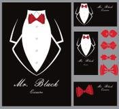 Biznesowy smokingu tło z czerwonym łęku krawatem Fotografia Stock