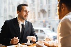 Biznesowy spotkanie przy zmierzchem Obraz Stock