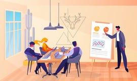 Biznesowy spotkanie w biurze z szefem i pracownikami ilustracji
