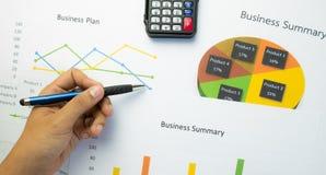 Biznesowy streszczenie lub planu biznesowego raport z mapami i wykresami w Biznesowym pojęciu Obraz Royalty Free