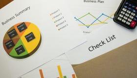 Biznesowy streszczenie lub planu biznesowego raport z mapami i wykresami w Biznesowym pojęciu Fotografia Stock