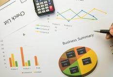Biznesowy streszczenie lub planu biznesowego raport z mapami i wykresami w Biznesowym pojęciu Fotografia Royalty Free