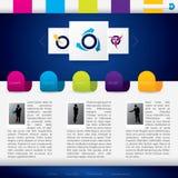 Biznesowy strona internetowa szablon z kolorowymi etykietkami Obrazy Royalty Free
