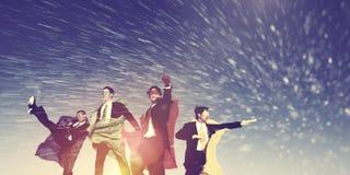 Biznesowy Superheros zimy śniegu ratuneku pojęcie obrazy royalty free