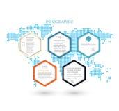 Biznesowy szablonu infographics Pięć sześciokątów na tło mapie świat ilustracja wektor