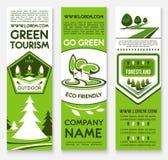 Biznesowy szablonu sztandar ustawiający dla ecotourism projekta Zdjęcia Stock