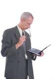 biznesowy szkieł laptopu mężczyzna Fotografia Stock