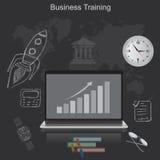 Biznesowy szkolenie, płaska wektorowa ilustracja, apps, sztandar, nakreślenie Fotografia Royalty Free