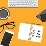 biznesowy sztandar telefon, notepad, kawa, szkła i notatnik, plan, pomysł i akcja, Wektorowy projekt eps10 ilustracji