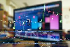 Biznesowy wykres i handlowy monitor inwestycja Obrazy Royalty Free