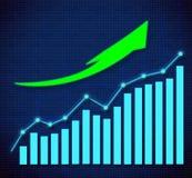 Biznesowy wykres i oddolne kierować strzała ilustracji