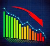 Biznesowy wykres i oddolne kierować strzała Zdjęcia Stock