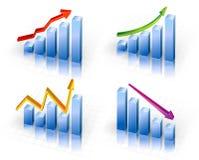 Biznesowy wykres z strzała seansu zyskami i Obrazy Royalty Free