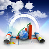 Biznesowy wzrostowy wykres i kula ziemska Zdjęcia Stock