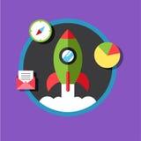 Biznesowy zaczyna up pomysłu szablon Zaczyna up rakietę Obrazy Stock