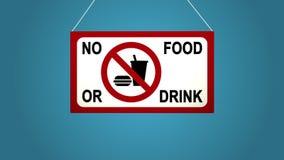 Biznesowy znak który mówi: żadny jedzenie Animowana deska spada i kiwa niebieska tła ilustracja wektor