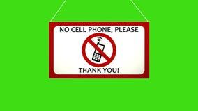 Biznesowy znak który mówi: Żadny telefon komórkowy Animowana deska spada i kiwa Alfa kanału zieleni wpisujący ekran royalty ilustracja
