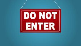 Biznesowy znak który mówi no wchodzić do Deska spada i kiwa niebieska tła ilustracja wektor