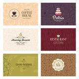 6 biznesowych cukiernianych kart szczegółowy restauracyjny set Zdjęcie Stock