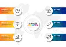 Biznesowych dane unaocznienie Proces mapa Abstrakcjonistyczni elementy wykres, diagram z krokami, opcje, części lub procesy, Wekt Obraz Royalty Free